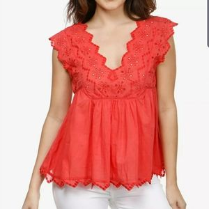 Lucky Brand Floral Embroidered Top NWT